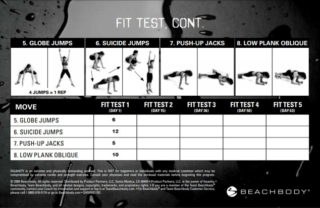 INSANITY Workout Program: Fit Test | Sarah Nicole